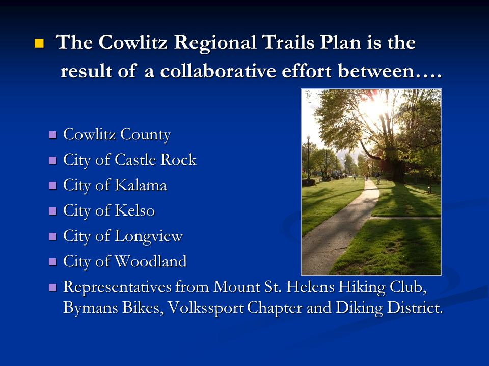 Recommended Implementation of the Plan Adopt the Regional Trails Plan as an overall guide.