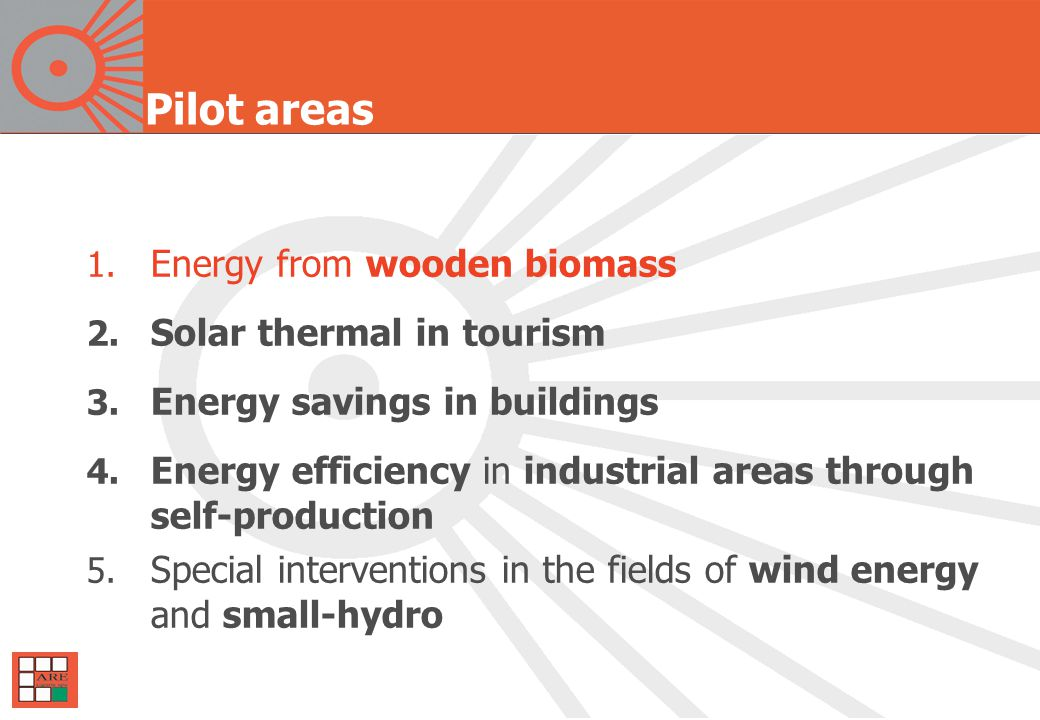 Pilot areas 1. Energy from wooden biomass 2. Solar thermal in tourism 3.