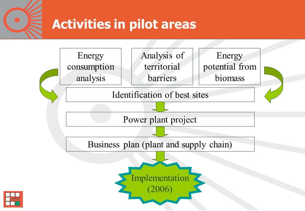 Activities in pilot areas Energy consumption analysis Identification of best sites Power plant project Business plan (plant and supply chain) Implementation (2006) Analysis of territorial barriers Energy potential from biomass