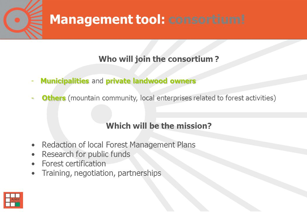 Management tool: consortium. Who will join the consortium .