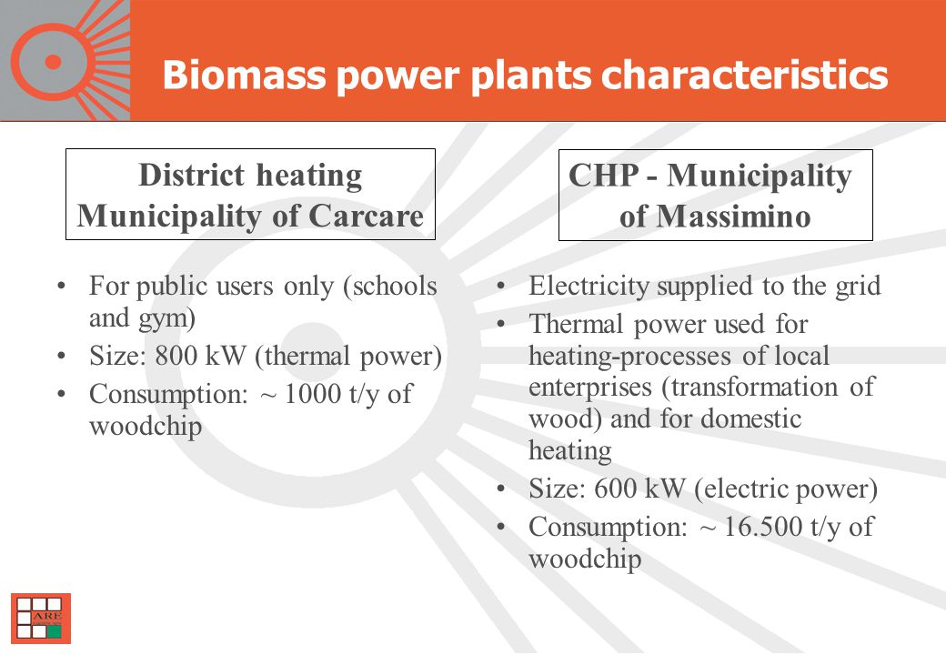 Biomass power plants characteristics For public users only (schools and gym) Size: 800 kW (thermal power) Consumption: ~ 1000 t/y of woodchip Electricity supplied to the grid Thermal power used for heating-processes of local enterprises (transformation of wood) and for domestic heating Size: 600 kW (electric power) Consumption: ~ 16.500 t/y of woodchip District heating Municipality of Carcare CHP - Municipality of Massimino