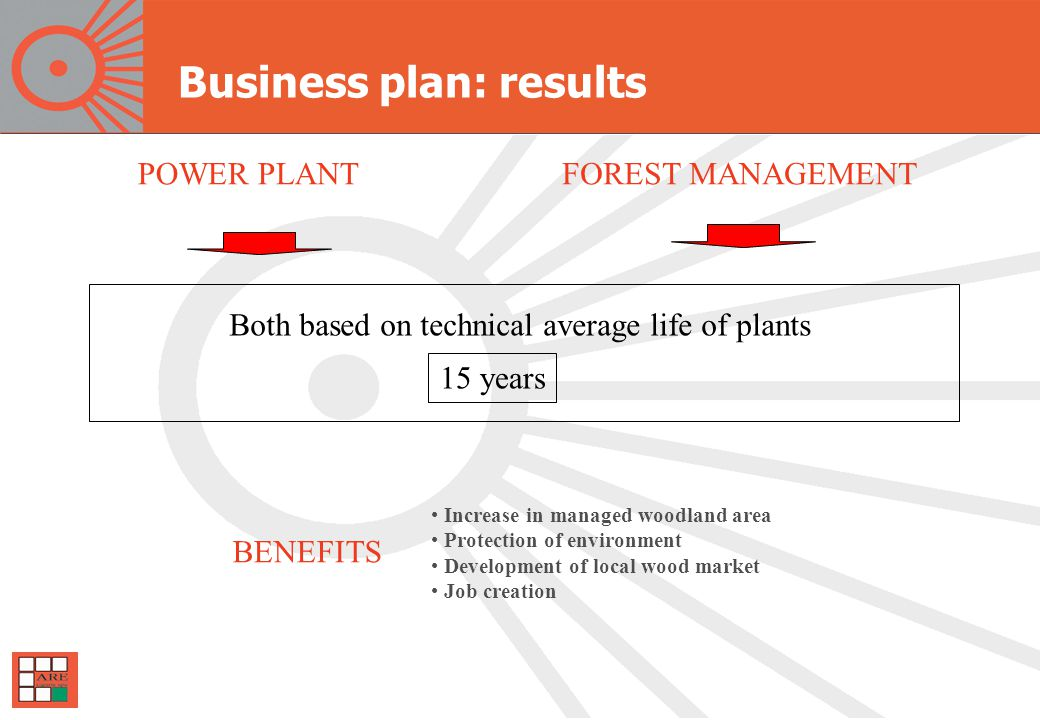 Business plan: results POWER PLANTFOREST MANAGEMENT Both based on technical average life of plants 15 years Increase in managed woodland area Protection of environment Development of local wood market Job creation BENEFITS