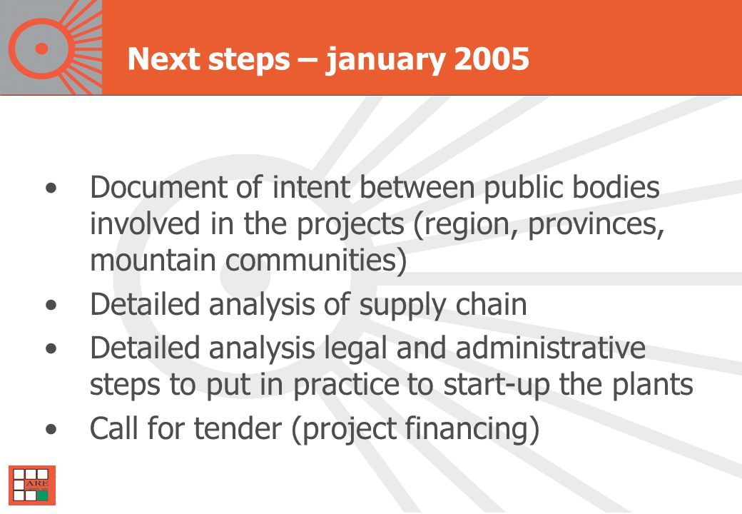 Next steps – january 2005 Document of intent between public bodies involved in the projects (region, provinces, mountain communities) Detailed analysis of supply chain Detailed analysis legal and administrative steps to put in practice to start-up the plants Call for tender (project financing)