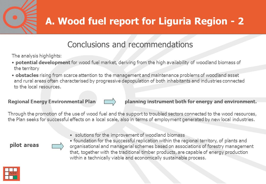 The analysis highlights: potential development for wood fuel market, deriving from the high availability of woodland biomass of the territory obstacles rising from scarce attention to the management and maintenance problems of woodland asset and rural areas often characterised by progressive depopulation of both inhabitants and industries connected to the local resources.