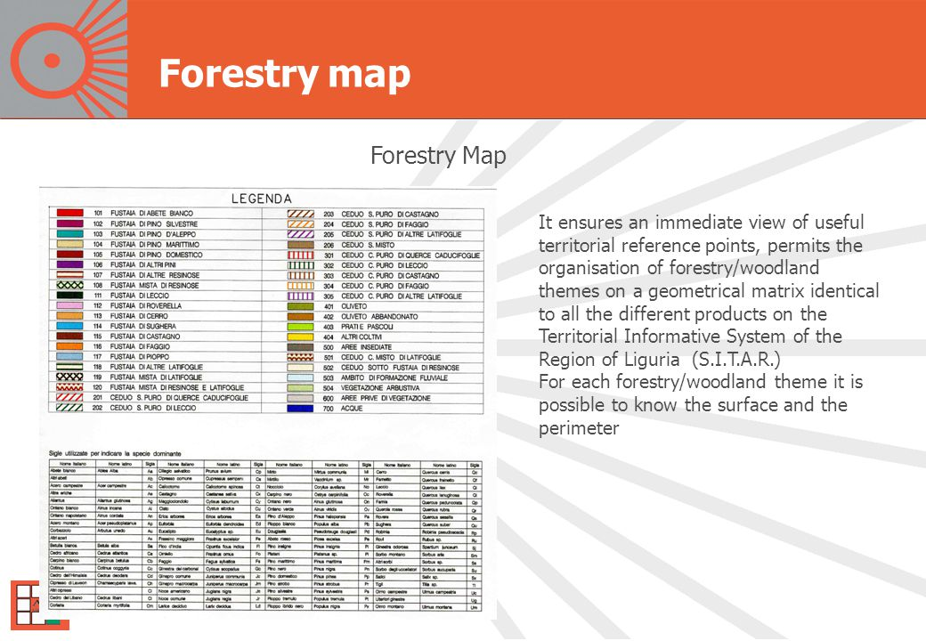 Forestry map Forestry Map It ensures an immediate view of useful territorial reference points, permits the organisation of forestry/woodland themes on a geometrical matrix identical to all the different products on the Territorial Informative System of the Region of Liguria (S.I.T.A.R.) For each forestry/woodland theme it is possible to know the surface and the perimeter