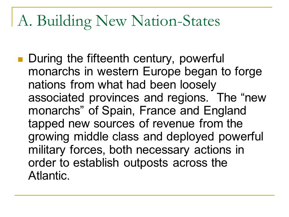 A. Building New Nation-States During the fifteenth century, powerful monarchs in western Europe began to forge nations from what had been loosely asso