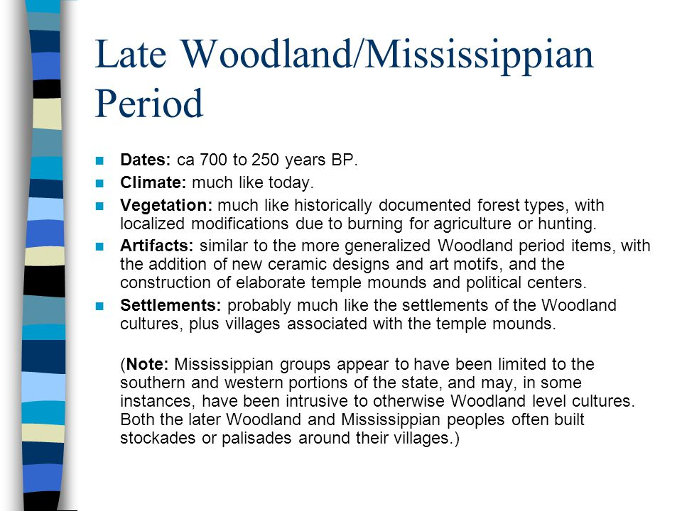 Late Woodland/Mississippian Period Dates: ca 700 to 250 years BP.