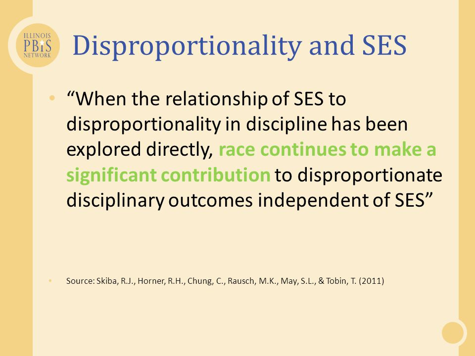 SWPBIS and disproportionality Source: Do elementary schools that document reductions in overall office discipline referrals document reductions across all student races and ethnicities.