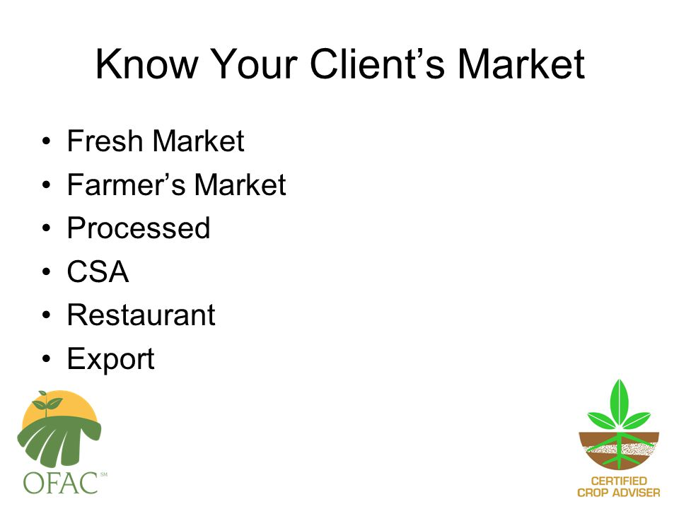 Know Your Client's Market Fresh Market Farmer's Market Processed CSA Restaurant Export