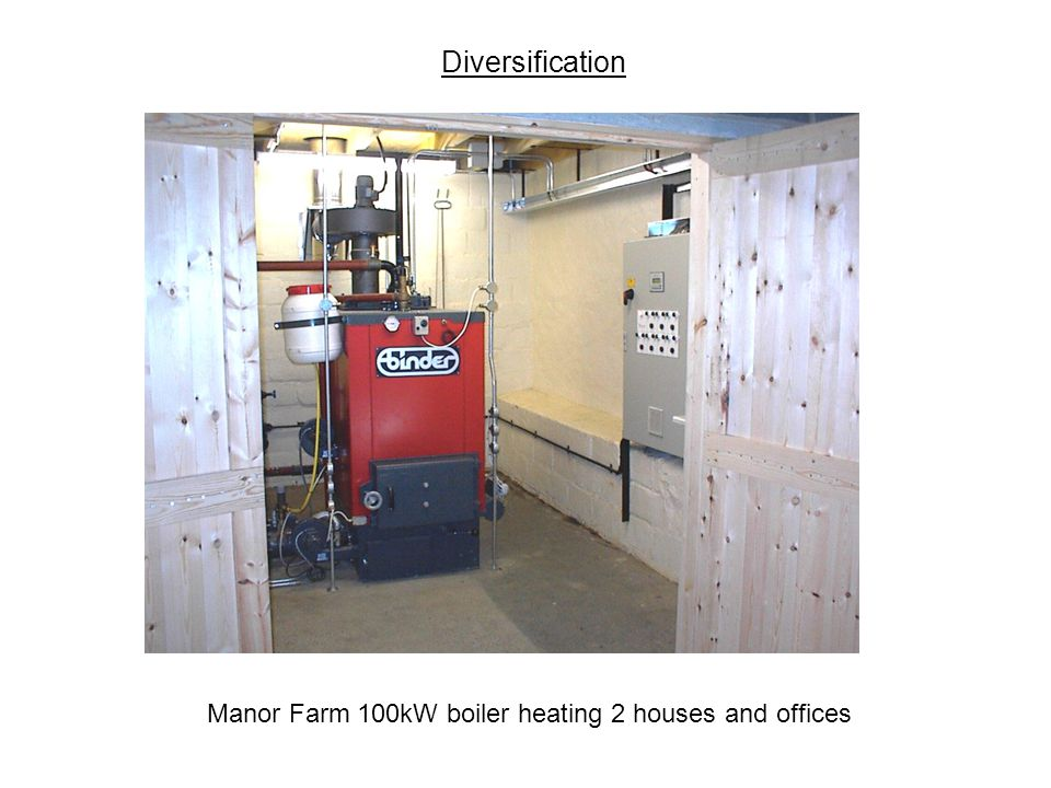 Diversification Manor Farm 100kW boiler heating 2 houses and offices