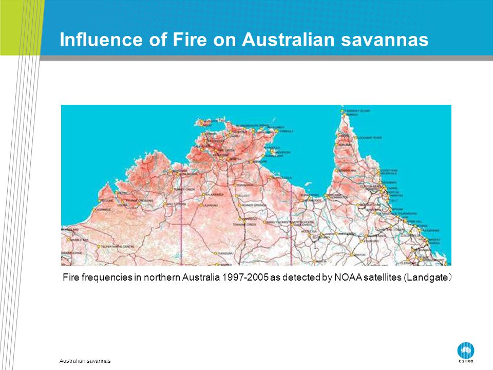 Australian savannas Influence of Fire on Australian savannas Fire frequencies in northern Australia 1997-2005 as detected by NOAA satellites (Landgate )