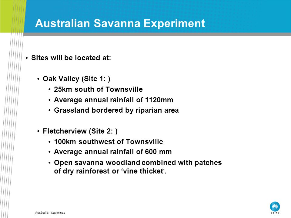 Australian savannas Australian Savanna Experiment Sites will be located at: Oak Valley (Site 1: ) 25km south of Townsville Average annual rainfall of 1120mm Grassland bordered by riparian area Fletcherview (Site 2: ) 100km southwest of Townsville Average annual rainfall of 600 mm Open savanna woodland combined with patches of dry rainforest or 'vine thicket '.