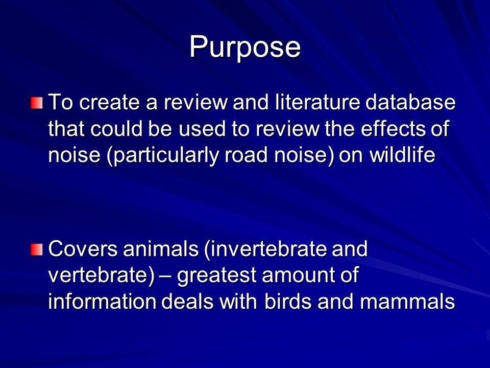 Future Research Can noise (as opposed to noise with associated traffic) cause the same effect.