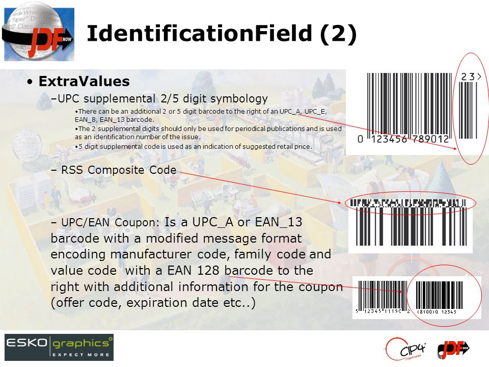 IdentificationField (2) ExtraValues –UPC supplemental 2/5 digit symbology There can be an additional 2 or 5 digit barcode to the right of an UPC_A, UPC_E, EAN_8, EAN_13 barcode.