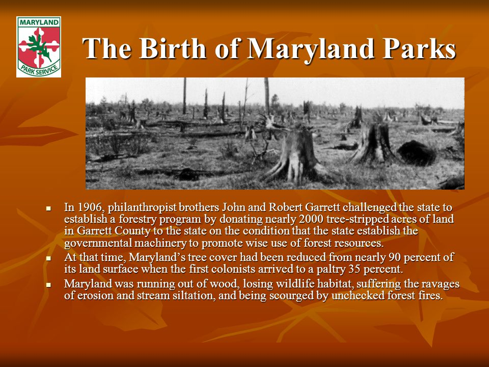 The Birth of Maryland Parks In 1906, philanthropist brothers John and Robert Garrett challenged the state to establish a forestry program by donating nearly 2000 tree-stripped acres of land in Garrett County to the state on the condition that the state establish the governmental machinery to promote wise use of forest resources.
