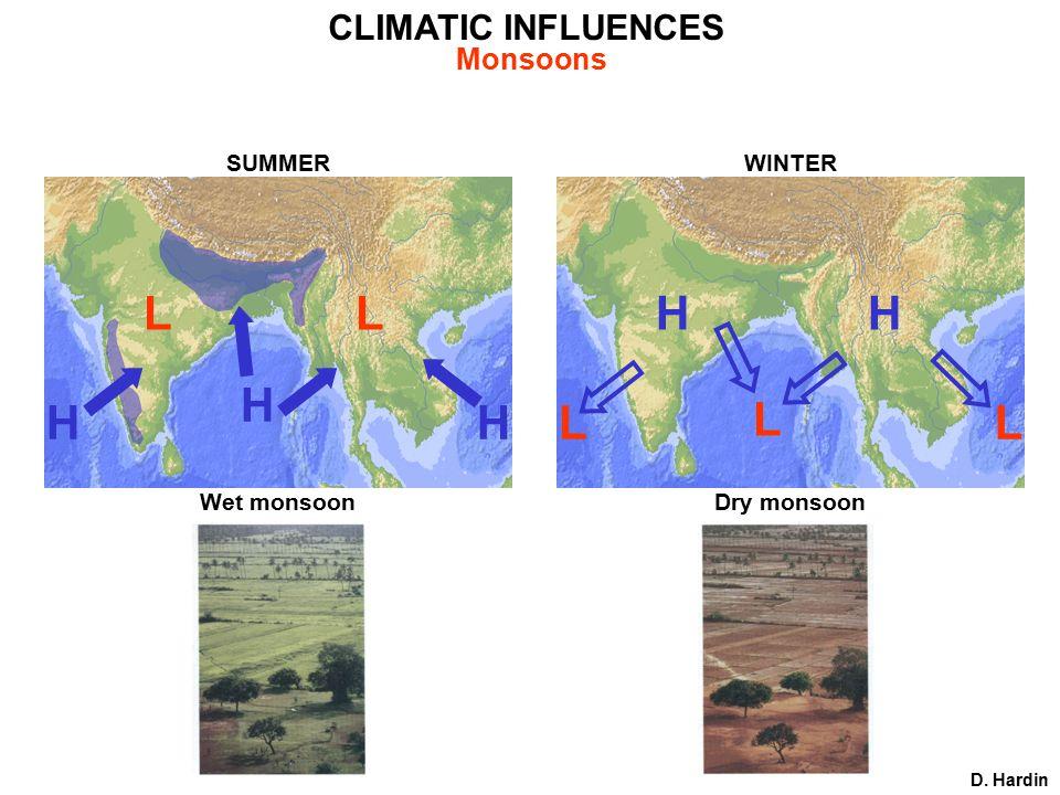 CLIMATIC INFLUENCES D. Hardin Monsoons SUMMER Wet monsoon HH H LL WINTER Dry monsoon L L L HH