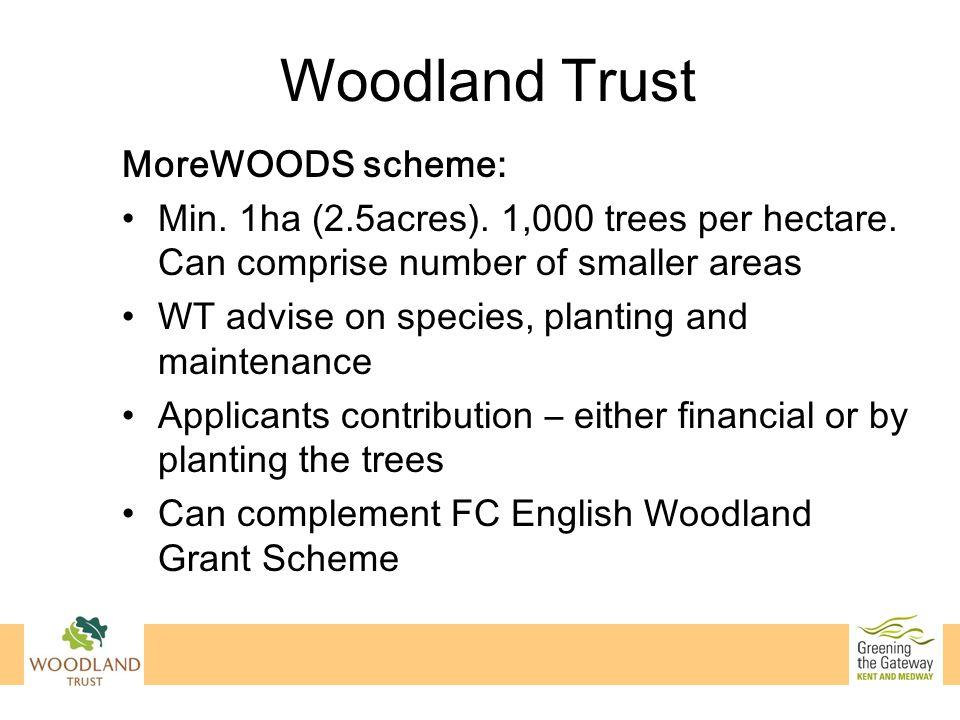 Woodland Trust MoreWOODS scheme: Min. 1ha (2.5acres).