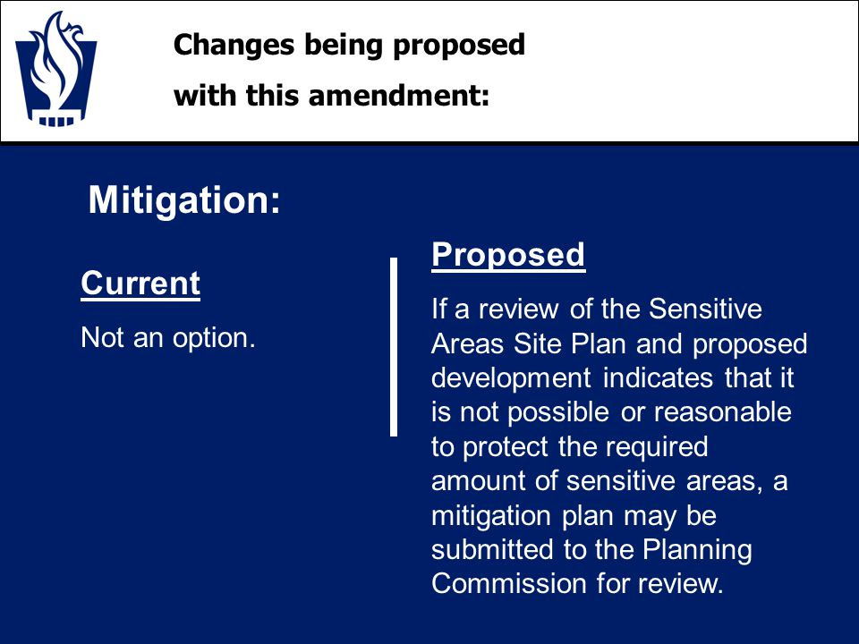 Changes being proposed with this amendment: Mitigation: Current Not an option.