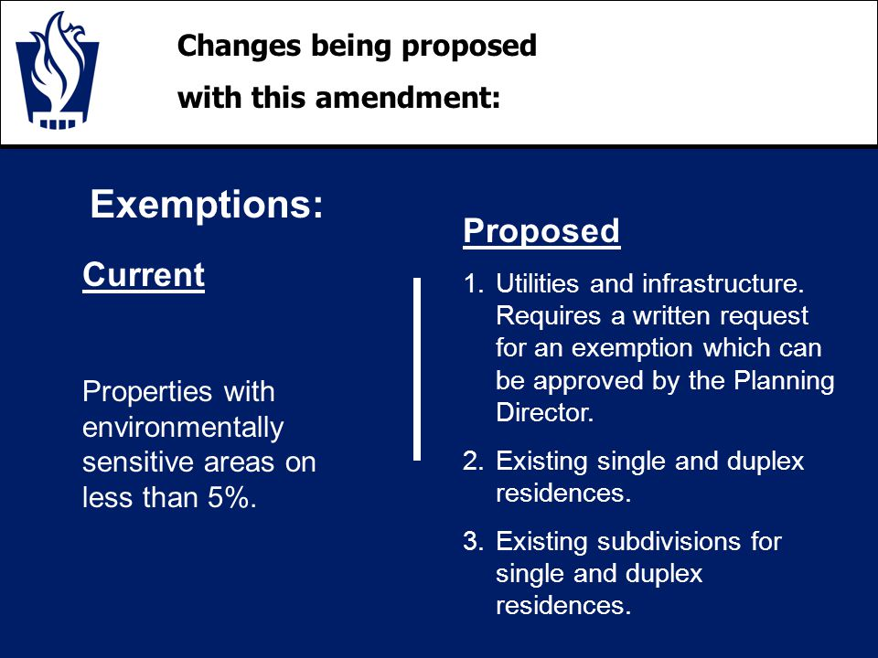 Changes being proposed with this amendment: Exemptions: Current Properties with environmentally sensitive areas on less than 5%.