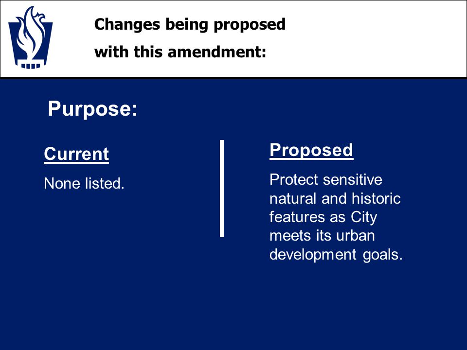 Changes being proposed with this amendment: Purpose: Current None listed.
