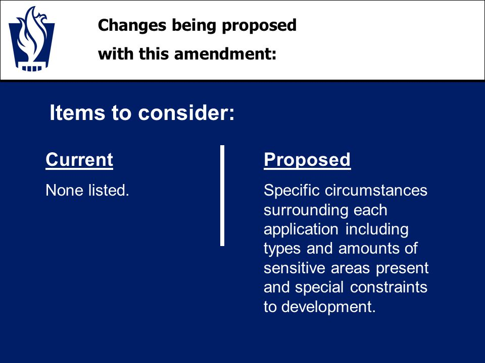 Changes being proposed with this amendment: Items to consider: Current None listed.