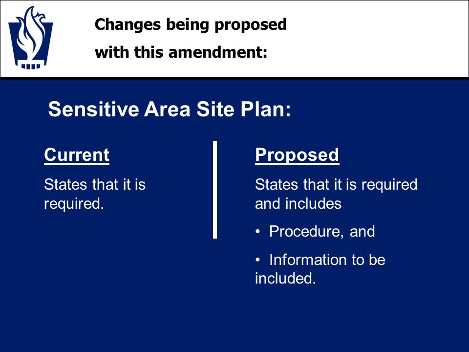 Changes being proposed with this amendment: Sensitive Area Site Plan: Current States that it is required.