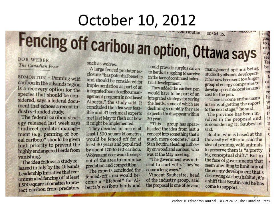 October 10, 2012 Weber, B. Edmonton Journal. 10 Oct 2012. The Canadian Press 10