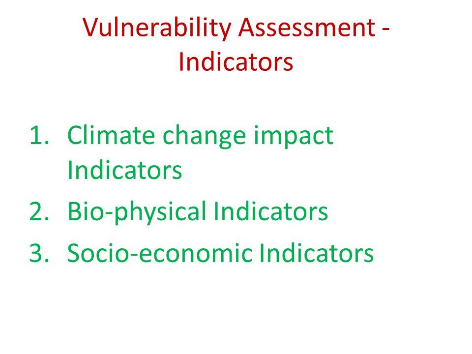 Vulnerability Assessment - Indicators 1.Climate change impact Indicators 2.Bio-physical Indicators 3.Socio-economic Indicators