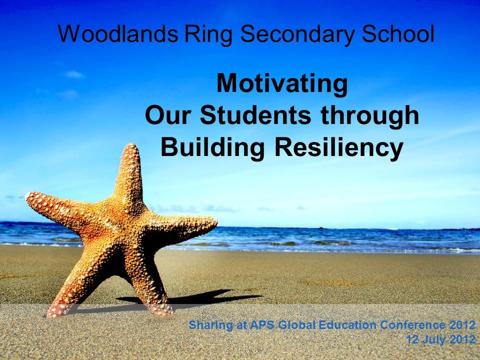 Motivating Our Students through Building Resiliency Woodlands Ring Secondary School Sharing at APS Global Education Conference 2012 12 July 2012