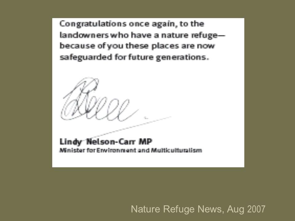 Nature Refuge News, Aug 2007
