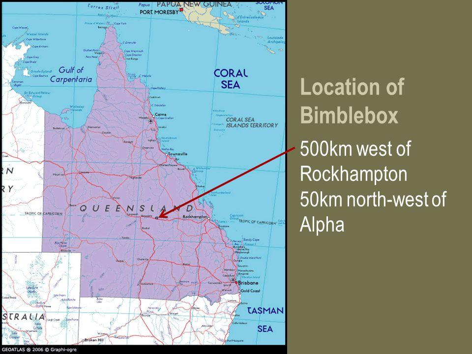 Location of Bimblebox 500km west of Rockhampton 50km north-west of Alpha
