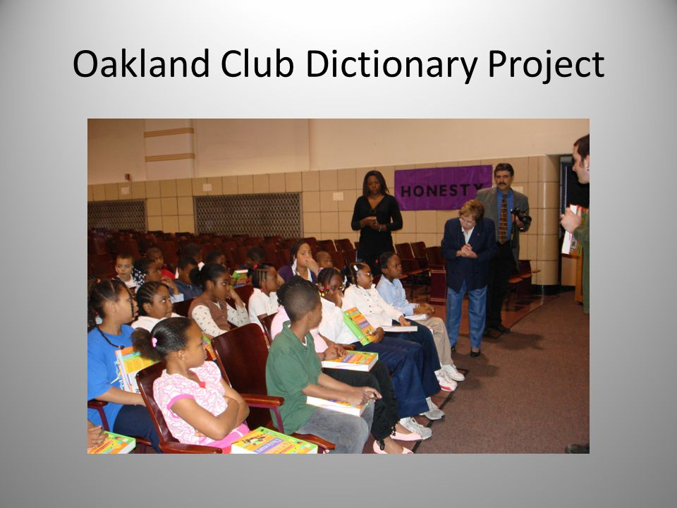 Woodland Hills Dictionary Project Agenda for January 26, 2010 Introductions Review of scope of project Dictionary selection Schools and census Point person for each school Contact Arrive at least 20 minutes early Have dictionaries and pens ready to hand out Rotary welcome followed by dictionary skills lesson by public librarian or library school student Photographs Preliminary work Where dictionaries should be shipped Purchase of pens Amount of personalization Text of labels Text of enclosed sheet Extra boxes