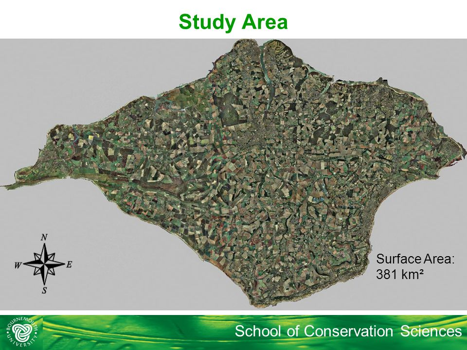School of Conservation Sciences Study Area Surface Area: 381 km²