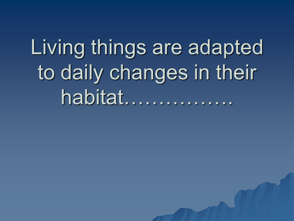 Living things are adapted to daily changes in their habitat…………….