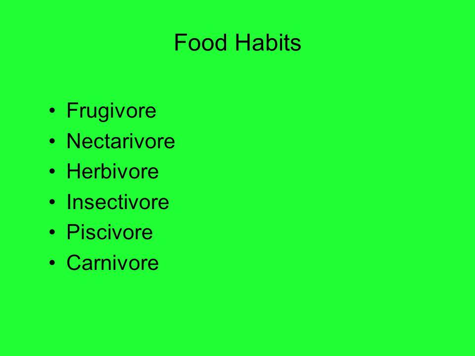 Food Habits Frugivore Nectarivore Herbivore Insectivore Piscivore Carnivore