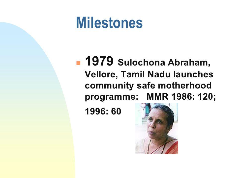 Milestones 1979 Sulochona Abraham, Vellore, Tamil Nadu launches community safe motherhood programme: MMR 1986: 120; 1996: 60