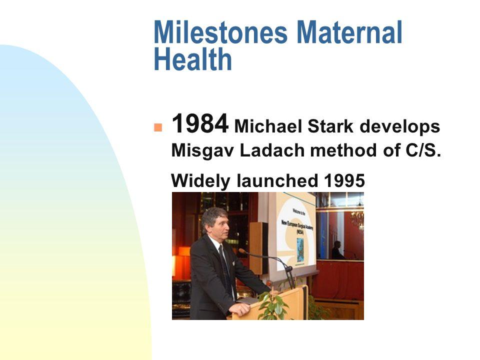 Milestones Maternal Health 1984 Michael Stark develops Misgav Ladach method of C/S.