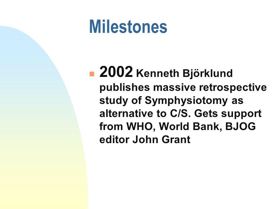 Milestones 2002 Kenneth Björklund publishes massive retrospective study of Symphysiotomy as alternative to C/S.