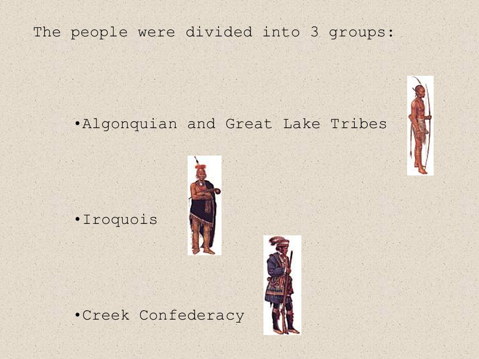 Algonquian and Great Lake Tribes Iroquois Creek Confederacy The people were divided into 3 groups:
