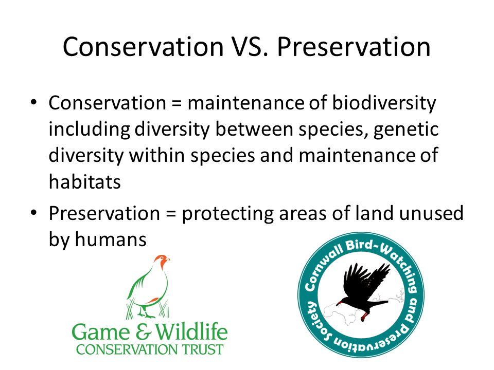 Conservation VS. Preservation Conservation = maintenance of biodiversity including diversity between species, genetic diversity within species and mai