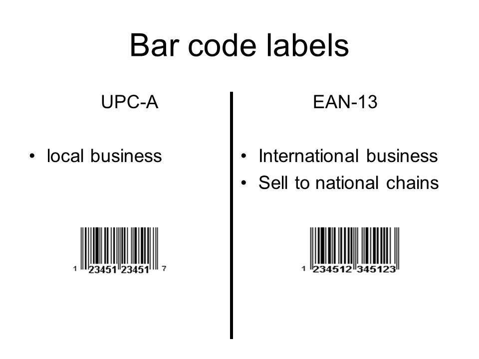 Bar code labels EAN-13 International business Sell to national chains UPC-A local business