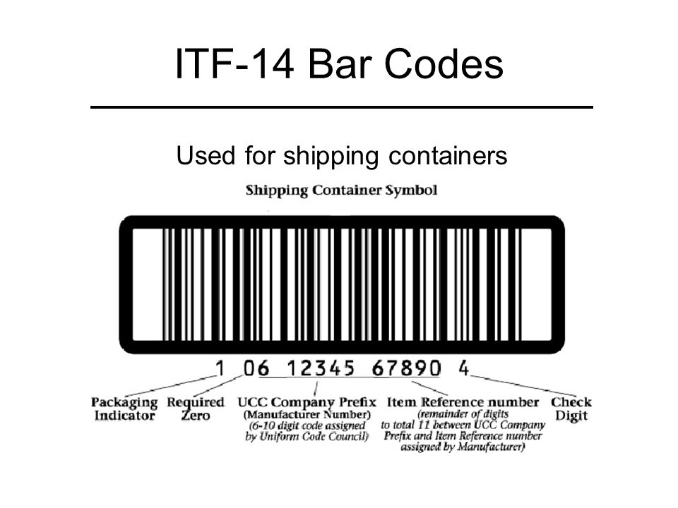 ITF-14 Bar Codes Used for shipping containers 1 0 6 1 4 1 4 1 0 0 0 4 1 5