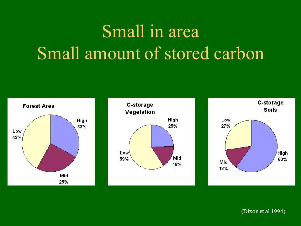 Small in area Small amount of stored carbon (Dixon et al 1994)
