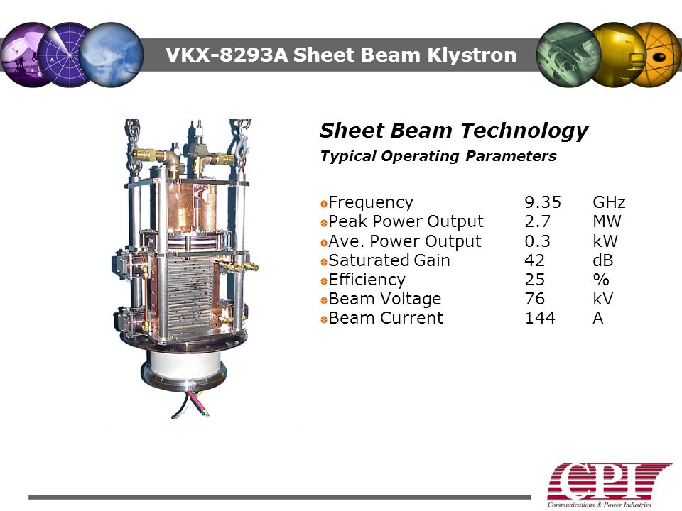 VKX-8293A Sheet Beam Klystron Sheet Beam Technology Typical Operating Parameters Frequency 9.35GHz Peak Power Output 2.7MW Ave.