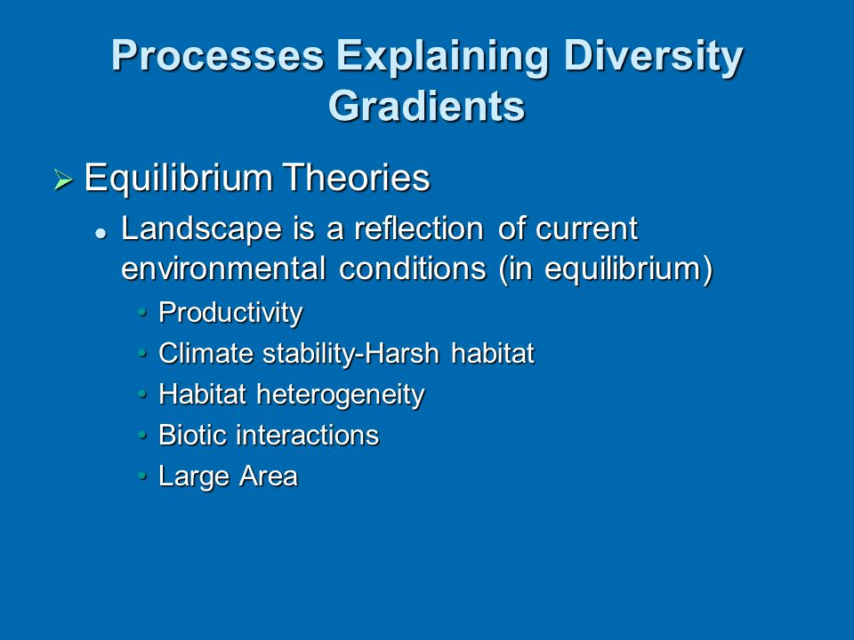  Equilibrium Theories Landscape is a reflection of current environmental conditions (in equilibrium) Landscape is a reflection of current environment