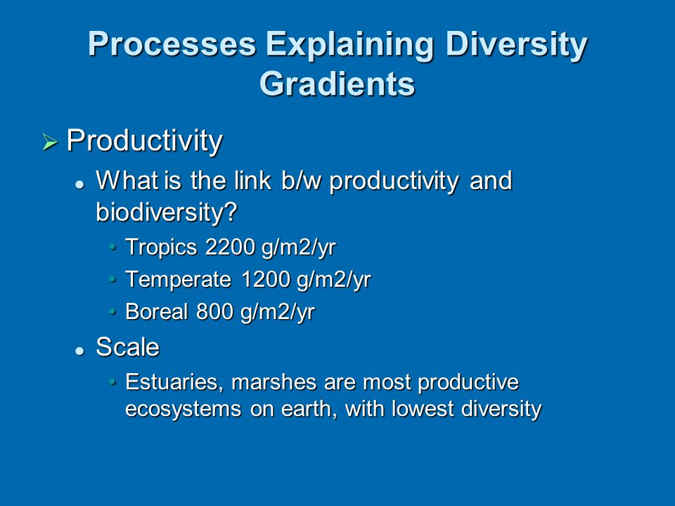  Productivity What is the link b/w productivity and biodiversity? What is the link b/w productivity and biodiversity? Tropics 2200 g/m2/yrTropics 220