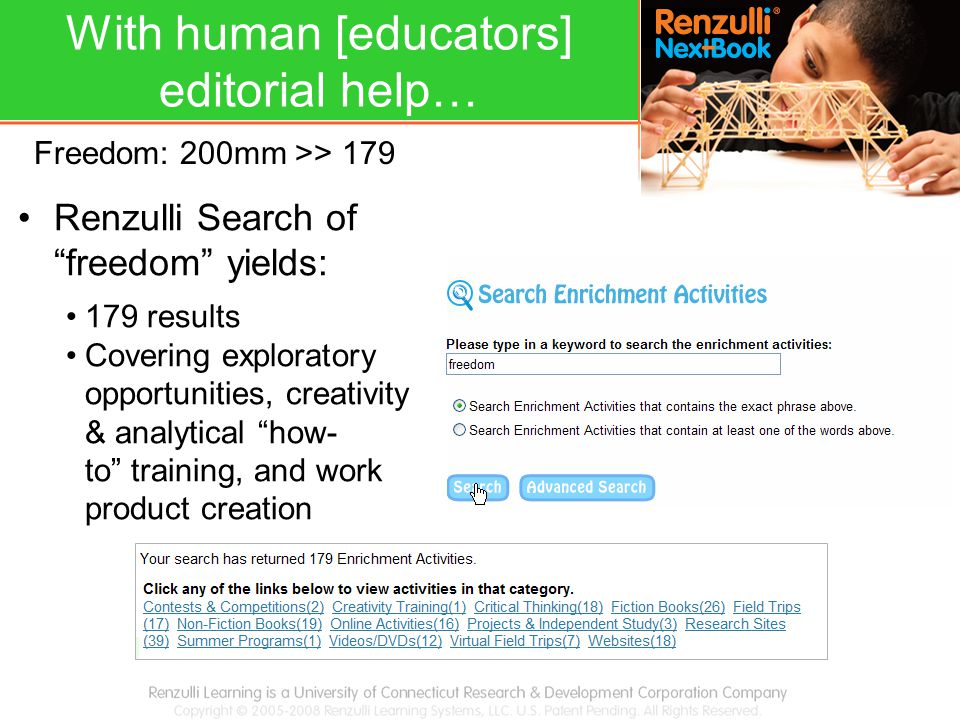 "Renzulli Search of ""freedom"" yields: 179 results Covering exploratory opportunities, creativity & analytical ""how- to"" training, and work product crea"