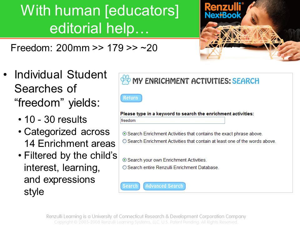 "Individual Student Searches of ""freedom"" yields: 10 - 30 results Categorized across 14 Enrichment areas Filtered by the child's interest, learning, an"