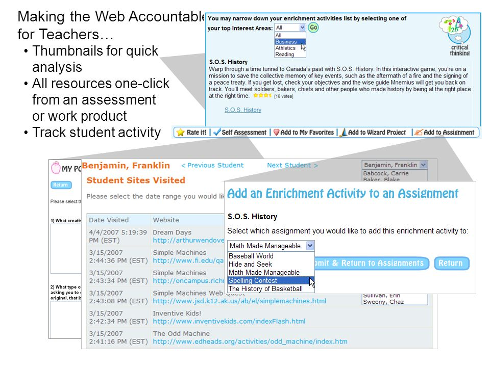 Making the Web Accountable for Teachers… Thumbnails for quick analysis All resources one-click from an assessment or work product Track student activi
