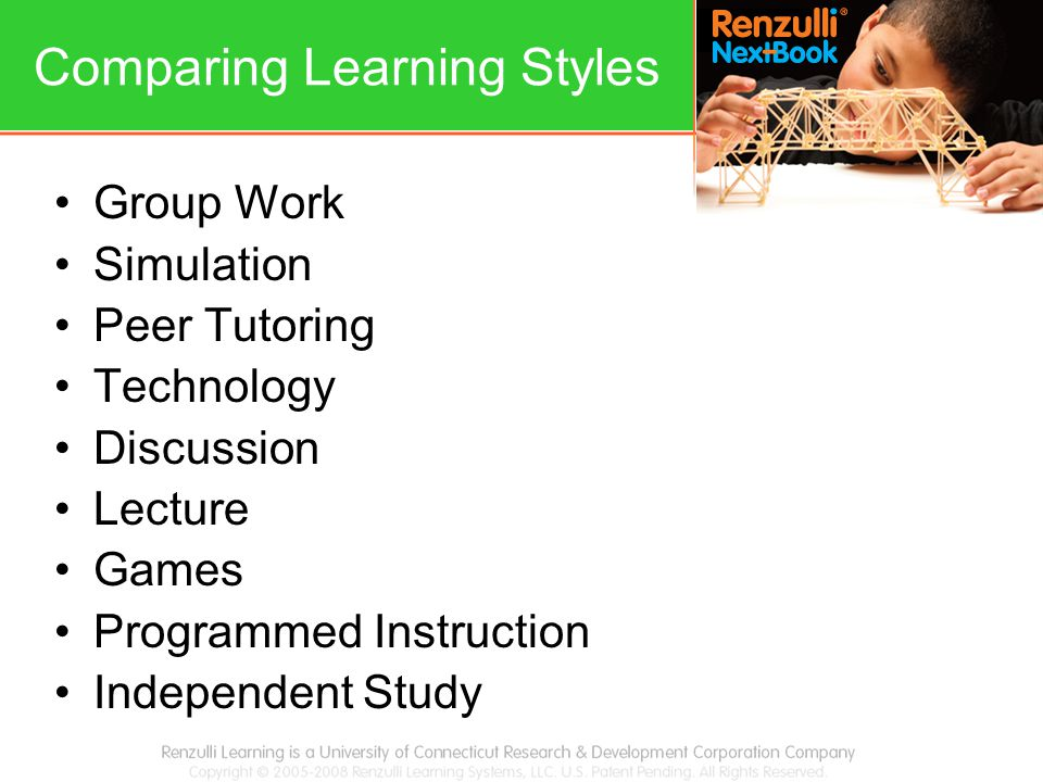 Comparing Learning Styles Group Work Simulation Peer Tutoring Technology Discussion Lecture Games Programmed Instruction Independent Study